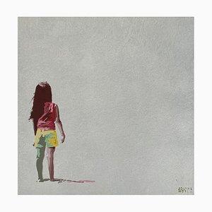 Joanna Woyda, con pantalones cortos amarillos, 2021, acrílico sobre lienzo