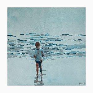 Joanna Woyda, Boy and Waves, 2021, acrílico sobre lienzo