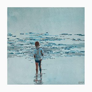 Joanna Woyda, Boy and Waves, 2021, acrilico su tela