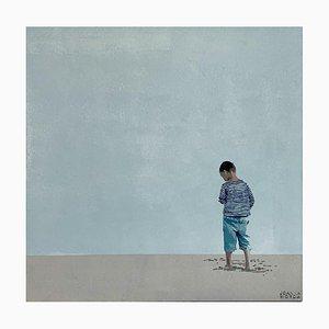 Joanna Woyda, Ragazzo con camicia a righe, 2021, acrilico su tela