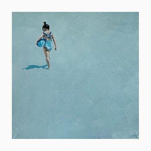 Joanna Woyda, Girl with a Blue Ball, 2021, Acrílico sobre lienzo