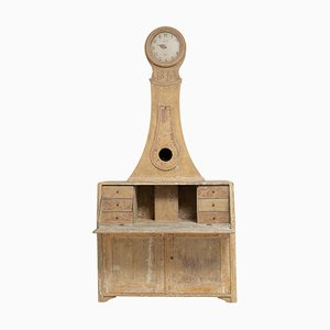 Reloj de oficina sueco de pino, siglo XIX