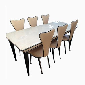 Table and Chairs by Umberto Mascagni for Harrods, 1950s, Set of 7