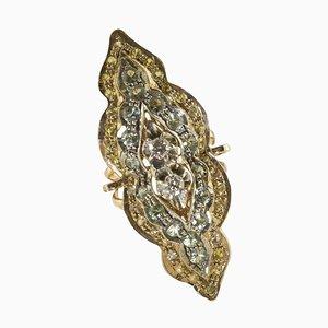 Anillo de cóctel con diamante amarillo, zafiros verdes, plata y oro rosa
