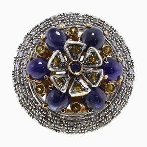 Anillo de zafiro, diamantes Ct 12,53, oro y plata