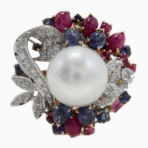 Diamonds, Rubies, Blue Sapphires, Pearl Cluster & Gold Ring