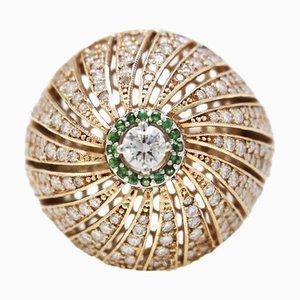Anello a cupola in oro rosa Ct 18, diamanti Ct 2,84 e tanzanite