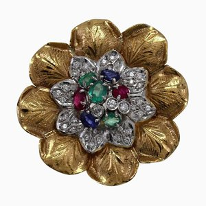 Anello a grappolo con zaffiro, rubino, smeraldo, diamanti e oro