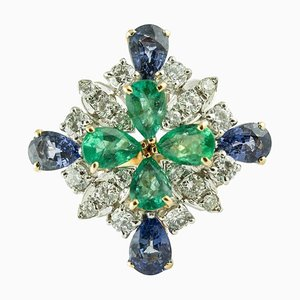 Bague Diamants, Saphirs et Émeraudes en Or Rose