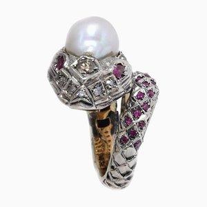 Anillo en forma de serpiente de oro y plata