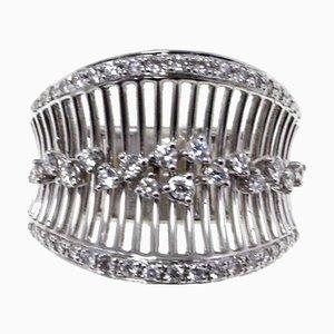 Anello a fascia in oro bianco, 18 carati, diamanti bianchi, 0,80 carati