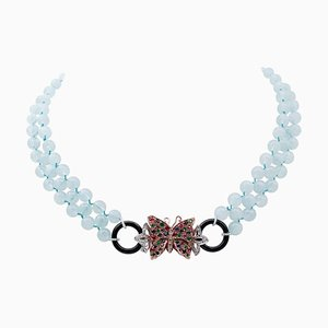 Aquamarine Diamonds, Emeralds, Rubies, Sapphires, Onyx, 9kt Gold and Silver Necklace