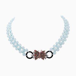 Collana con acquamarina, diamanti, smeraldi, zaffiri, onice, oro 9kt e argento
