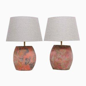 Lampade da tavolo vintage in argilla, set di 2