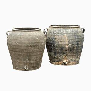 Pots à Huile ou à Eau Gris Vintage, Set de 2