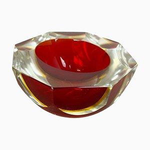 Cenicero Element Sommerso italiano de cristal de Murano facetado de Flavio Poli, años 70