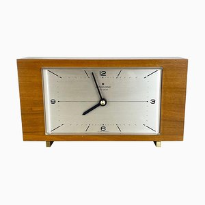 German Wooden Electronic Teak Table Clock in the Style of Max Bill for Junghans, Germany, 1960s