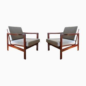 Poltrone 7752-B grigie di Zenon Bączyk per Swarzędzie Fabryki Furniture, anni '60, set di 2