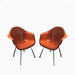 DAX Armchairs in Orange Fiberglass by Charles & Ray Eames for Herman Miller, Set of 2