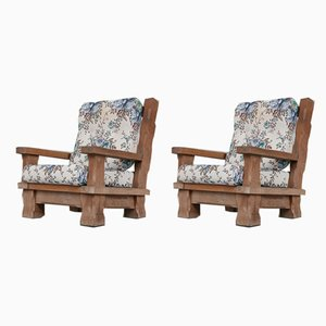 French Brutalist Oak Chunky Armchairs, Set of 2
