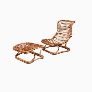 Mid-Century Modern Rattan Armchair and Footrest Set, 1960s