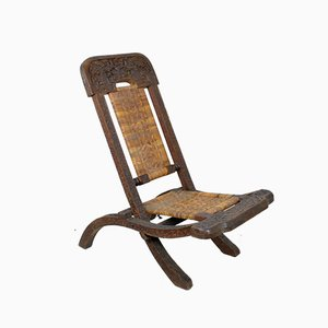 Antique Asian Carved Exotic Wood & Cannage Folding Chair