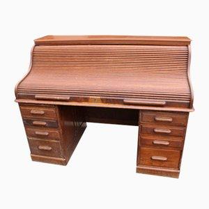 Großer antiker Schreibtisch aus Eiche mit Rolltür, 1900er