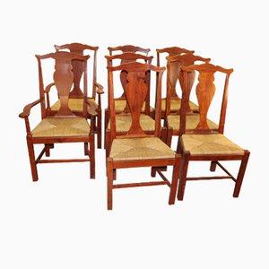 Teak Esszimmerstühle mit Schnitzereien, 1960er, 8er Set