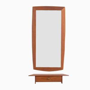 Danish Teak Mirror with a Teak Console, Set of 2