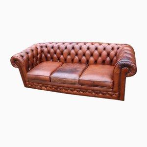 Braunes Leder 3-Sitzer Chesterfield Sofa von Thomas Lloyd, 1960er