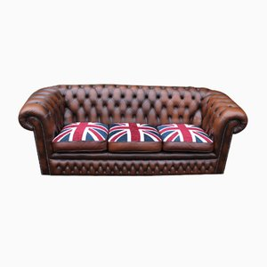 Brown Leather 3 Seater Chesterfield Sofa with Union Jack, 1960s