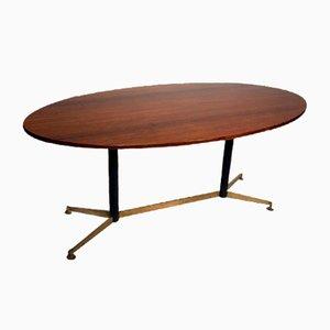 Mesa de comedor con estructura de palisandro, hierro y latón, años 50