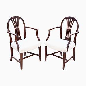 Georgian Mahogany Elbow Carver Side Desk Chairs, 1795, Set of 2