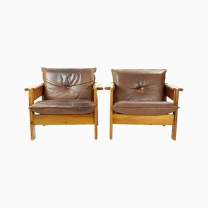 Lounge Chairs in Leather and Wood, Czechoslovakia 1970s, Set of 2