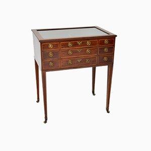 Antique English Georgian Inlaid Display Case Table