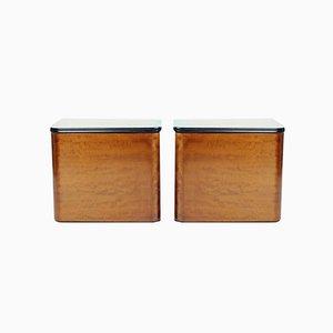 Mesitas de noche minimalistas Art Déco de madera, Checoslovaquia, años 40. Juego de 2