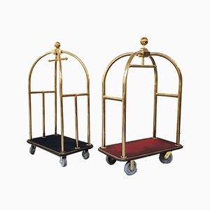 Mid-Century Modern Luggage Carts, Set of 2