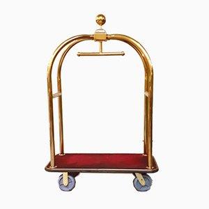 Mid-Century Modern Red Luggage Cart