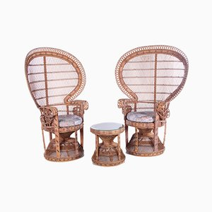 Vintage King Sized Emmanuelle Peacock Chairs with Side Table, Set of 2