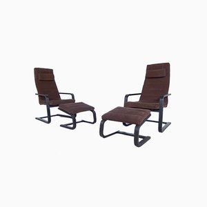 Boliden Armchairs with Footrest from Ikea, 1999, Set of 4