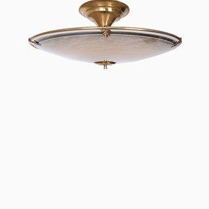Lámpara colgante grande de latón y vidrio, años 50