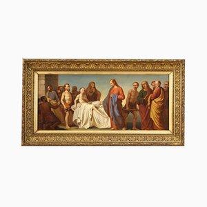 Miracle de Lazare, Peinture Religieuse, Italie, 19ème Siècle, Huile sur Toile, Encadrée