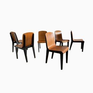 Vintage Thermogeformte Esszimmerstühle aus Holz, 6er Set
