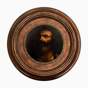 Head of Philosopher, Oil on Tablet, 1990s, Framed