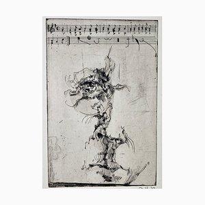 Horst Janssen, Selbstbildnis, Blüchers Gedächtnis, 1972, Impression sur Papier Signée à la Main