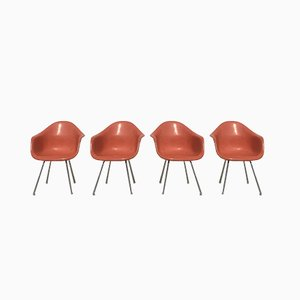 Dax Armchairs in Orange Fiberlite by Charles & Ray Eames for Herman Miller, Set of 4