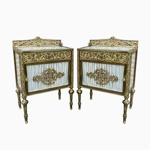 19th Century French Bronze Vitrine Nightstands with Glass Doors and Brass Drawers, Set of 2