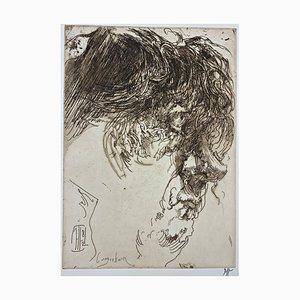 Horst Janssen, Selbstportrait Wuschel, Impression sur Papier Signée à la Main