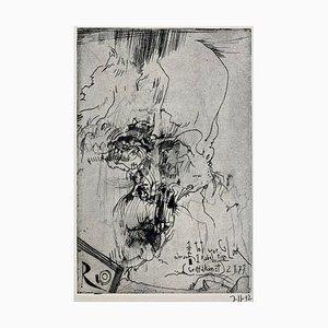 Horst Janssen, Halbtot vor Glück oder auch 1 Fabeltier, 1973, Impression sur Papier Signée à la Main