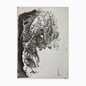 Horst Janssen, Selbstportrait Elegisch, 1982, handsignierter Druck auf Papier